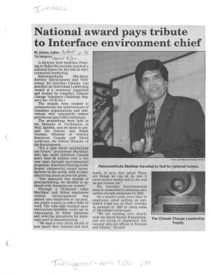 National award pays tribute to Interface environment chief