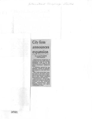 City firm announces expansion