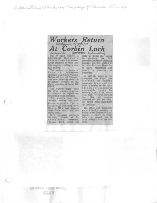 Workers Return At Corbin Lock
