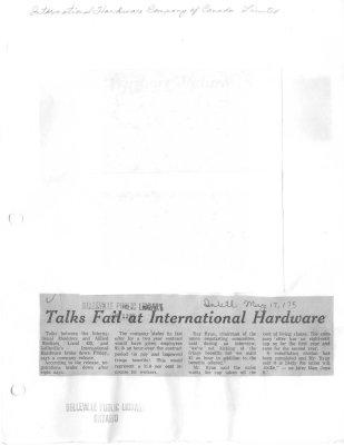 Talks Fail at International Hardware
