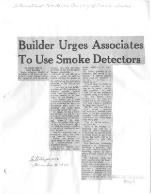 Builder Urges Associates To Use Smoke Detectors