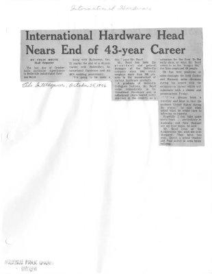 International Hardware Head Nears End of 43-year Career