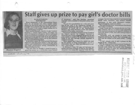 Staff gives up prize to pay girl's doctor bills