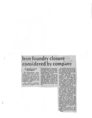 Iron foundry closure considered by company