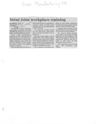 Invar joins workplace training