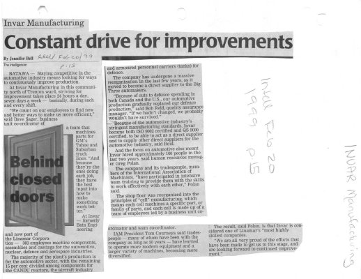 Constant drive for improvements