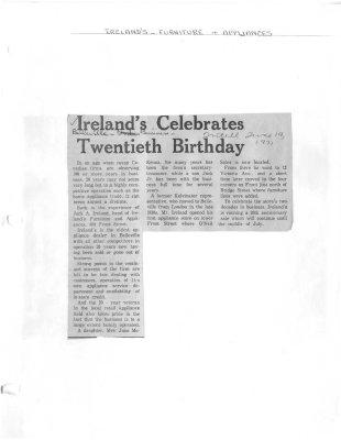 Ireland's Celebrates Twentieth Birthday