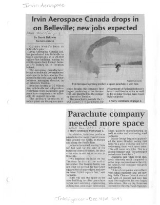 Irvin Aerospace Canada drops in on Belleville; new jobs expected