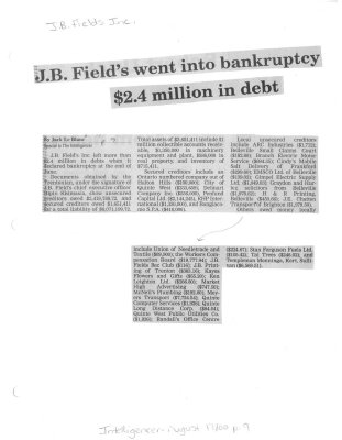J. B. Field's went into bankruptcy $2.4 million in debt