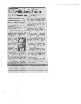 Belleville Jack Fraser to remain in operation