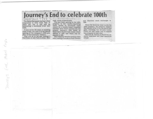 Journey's End to celebrate 100th