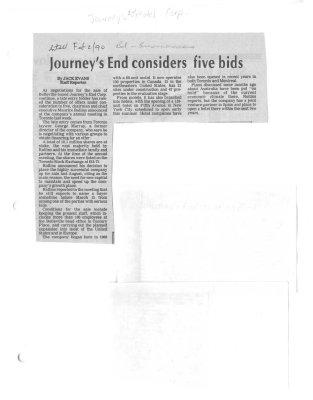 Journey's End considers five bids