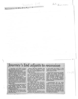Journey's End adjusts to recession