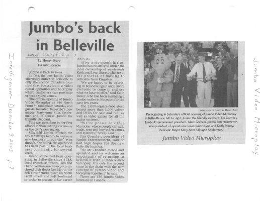 Jumbo's back in Belleville
