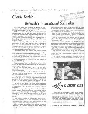 Charlie Keeble - Belleville's International Sailmaker