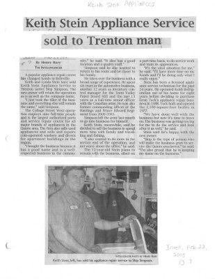Keith Stein Appliance Service sold to Trenton Man