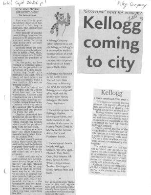 'Grrrrreat' news for economy Kellogg coming to city