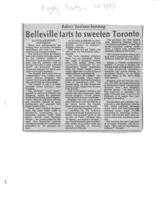 Belleville tarts to sweeten Toronto