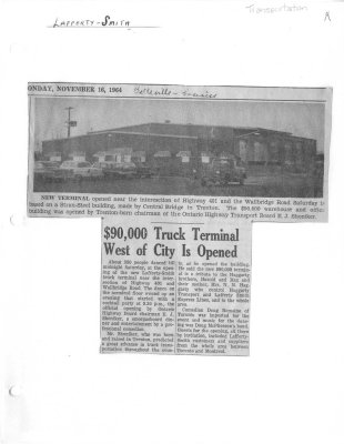 $90000 Truck Terminal West of City is Opened