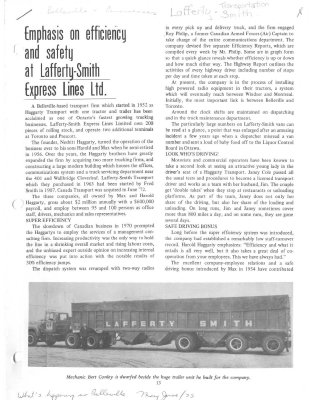 Emphasis on efficiency and safety at Lafferty-Smith Express Lines Ltd.