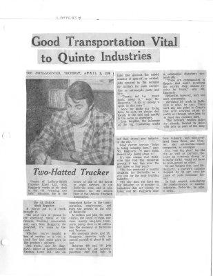 Good Transportation Vital to Quinte Industries