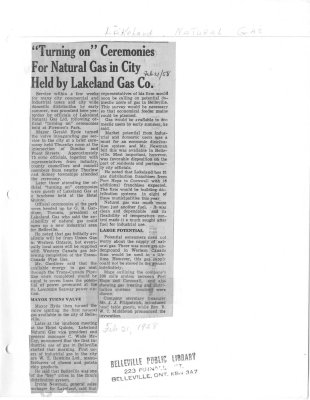 """""""Turning on"""" Ceremonies For Natural Gas in City Held by Lakeland Gas Co."""
