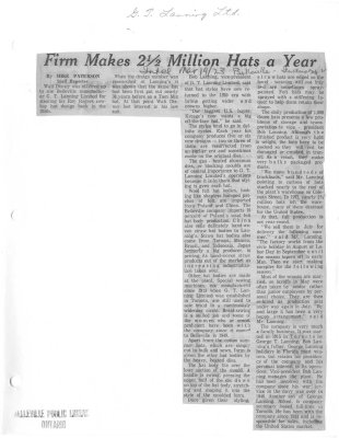 Firm makes 2 1/2 million hats a year