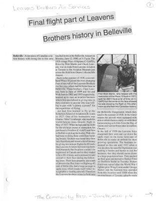 Final flight part of Leavens Brothers history in Belleville