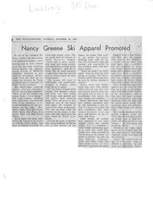 Nancy Greene Ski Apparel Promoted
