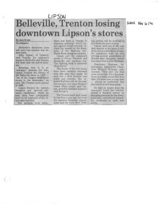 Belleville, Trenton Losing downtown Lipson's stores