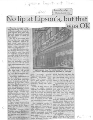 No lip at Lipson's but that was ok