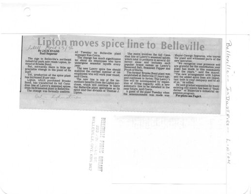 Lipton moves spice line to Belleville