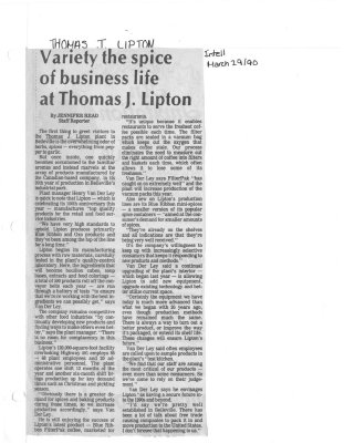 Variety the spice of business life at Thomas J. Lipton