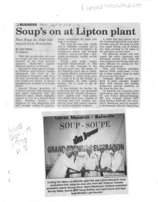 Soup's on at Lipton plant