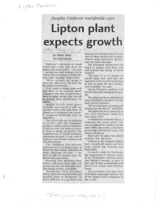 Lipton plant expects growth