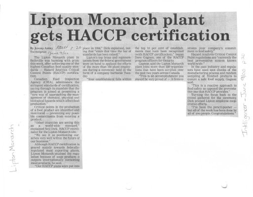 Lipton Monarch plant gets HACCP certification