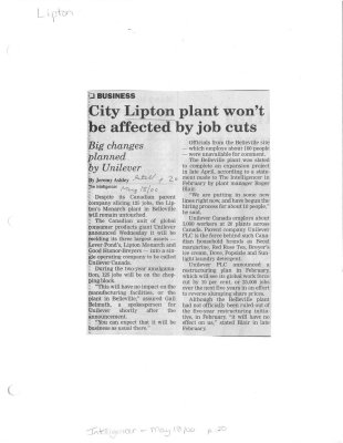 City Lipton plant won't be affected by job cuts