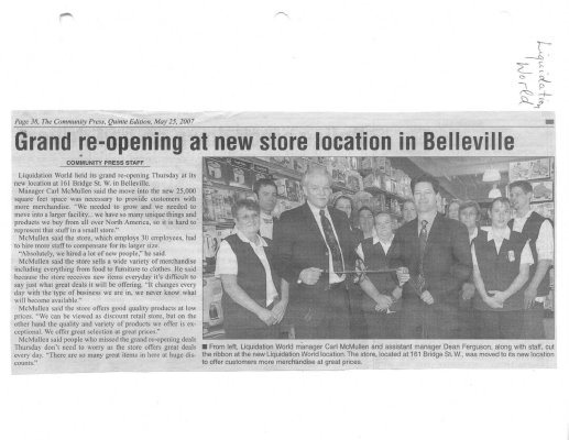 Grand re-opening at new store location in Belleville
