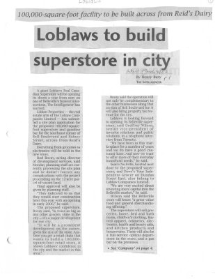 Loblaws to build superstore in city
