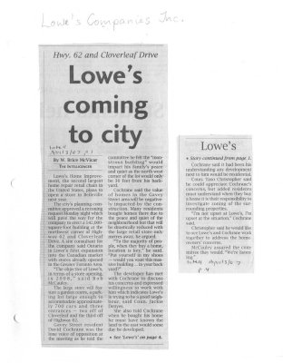 Lowe's coming to city