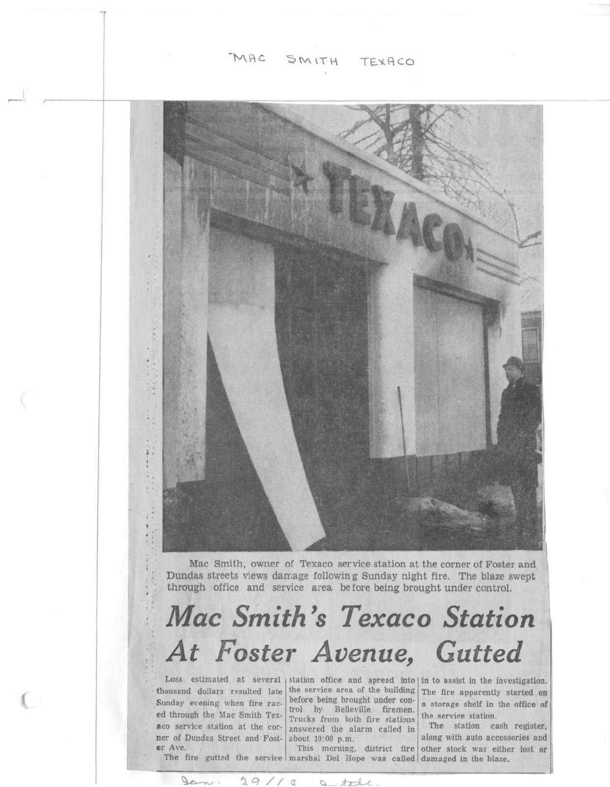 Mac Smith's Texaco Station at Foster Avenue Gutted: Belleville