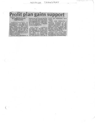 Profit plan gains support