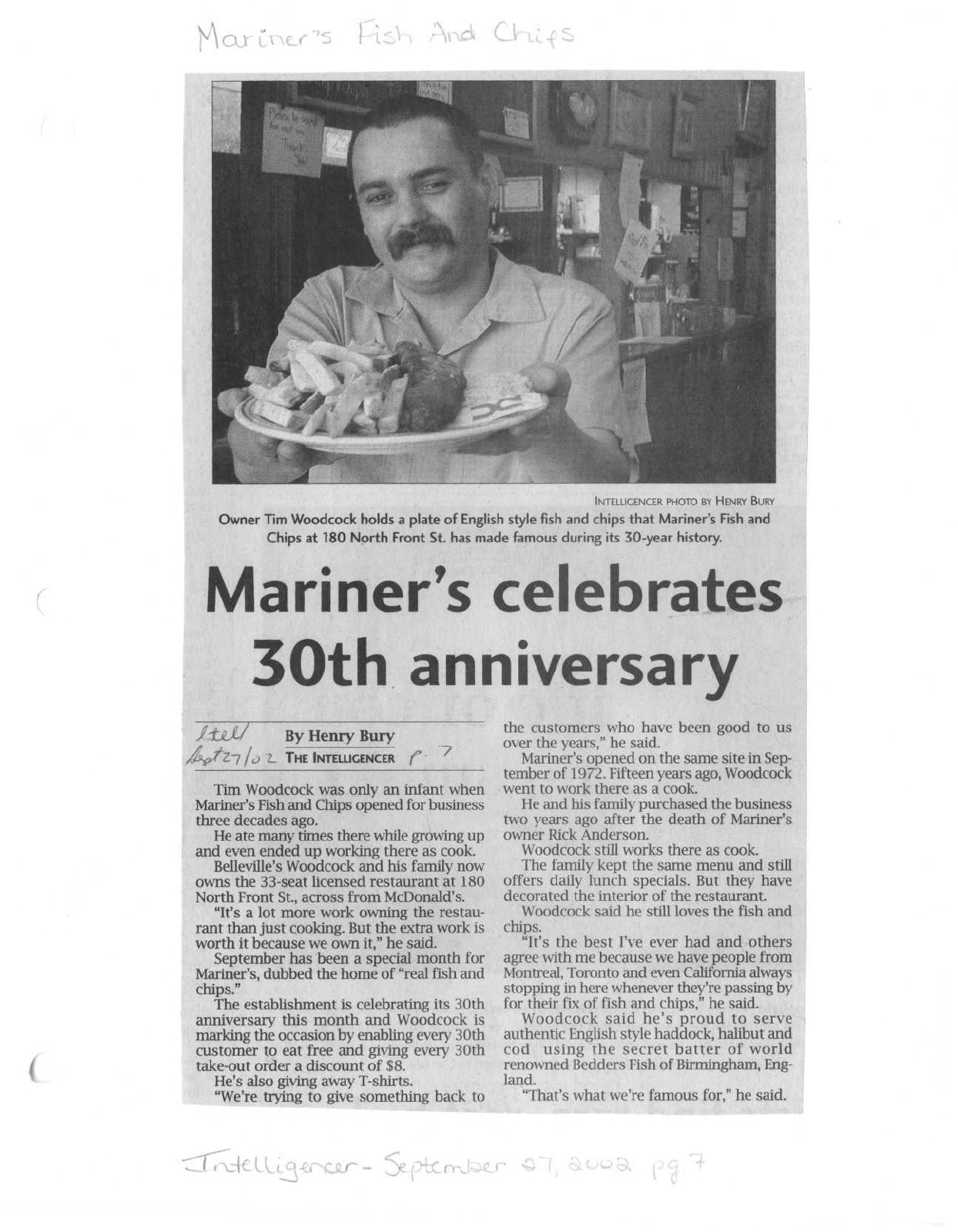 Mariner's celebrates 30th anniversary