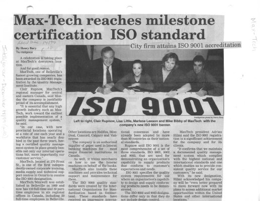 Max-Tech reaches milestone certification ISO standard