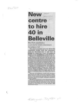 New centre to hire 40 in Belleville