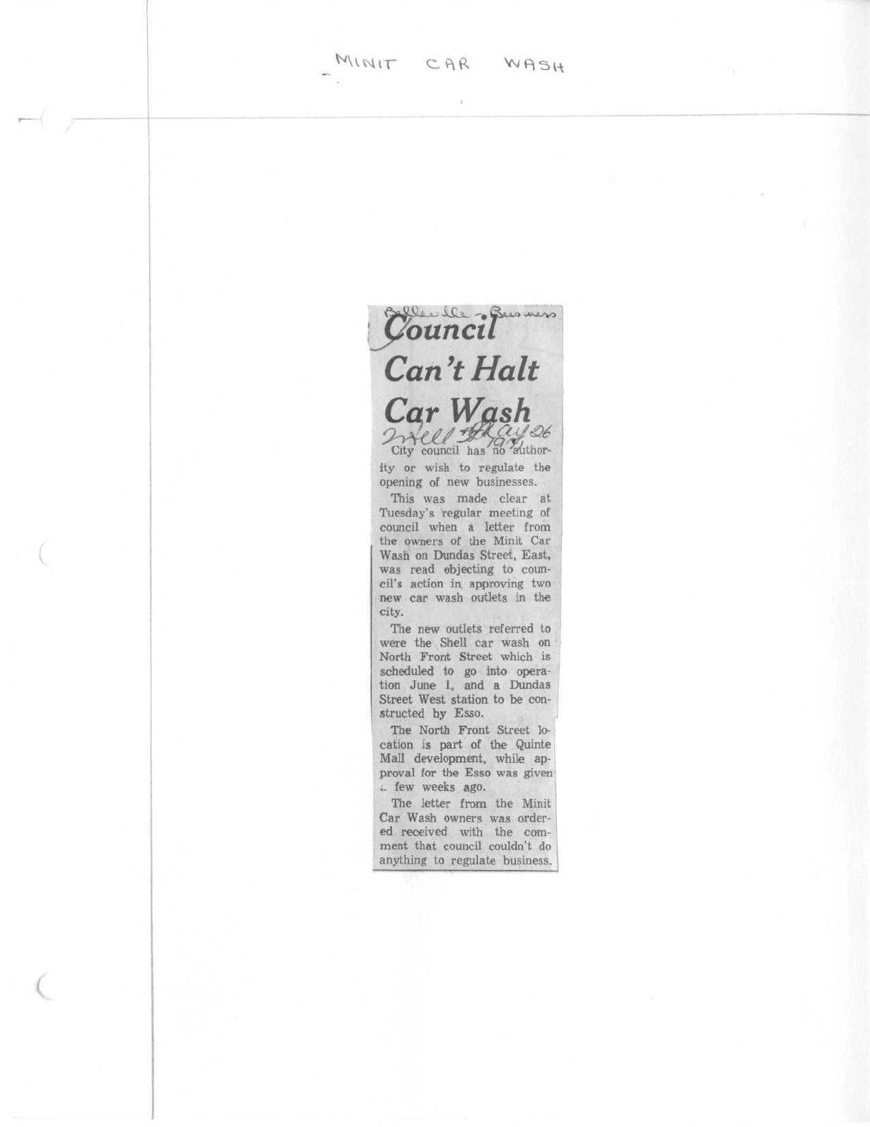 Council Can't Halt Car Wash