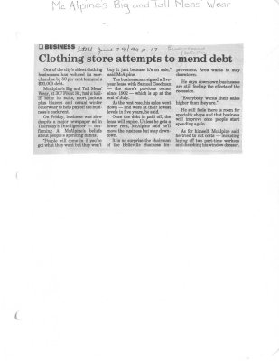 Clothing store attempts to mend debt