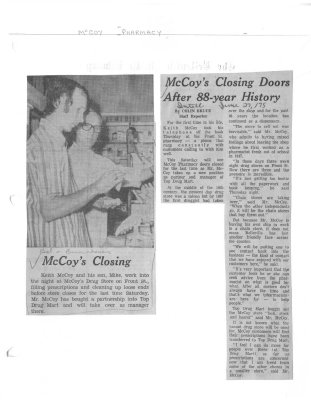 McCoy's Closing doors after 88 year history