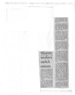 Misener workers switch unions