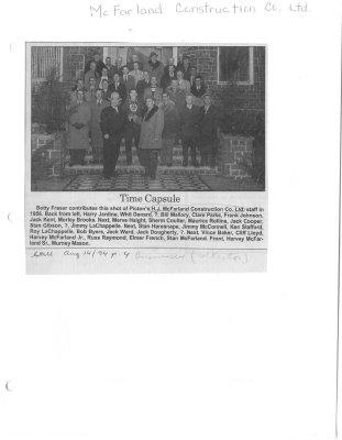 Time Capsule: H. J. McFarland Construction Co. Ltd.